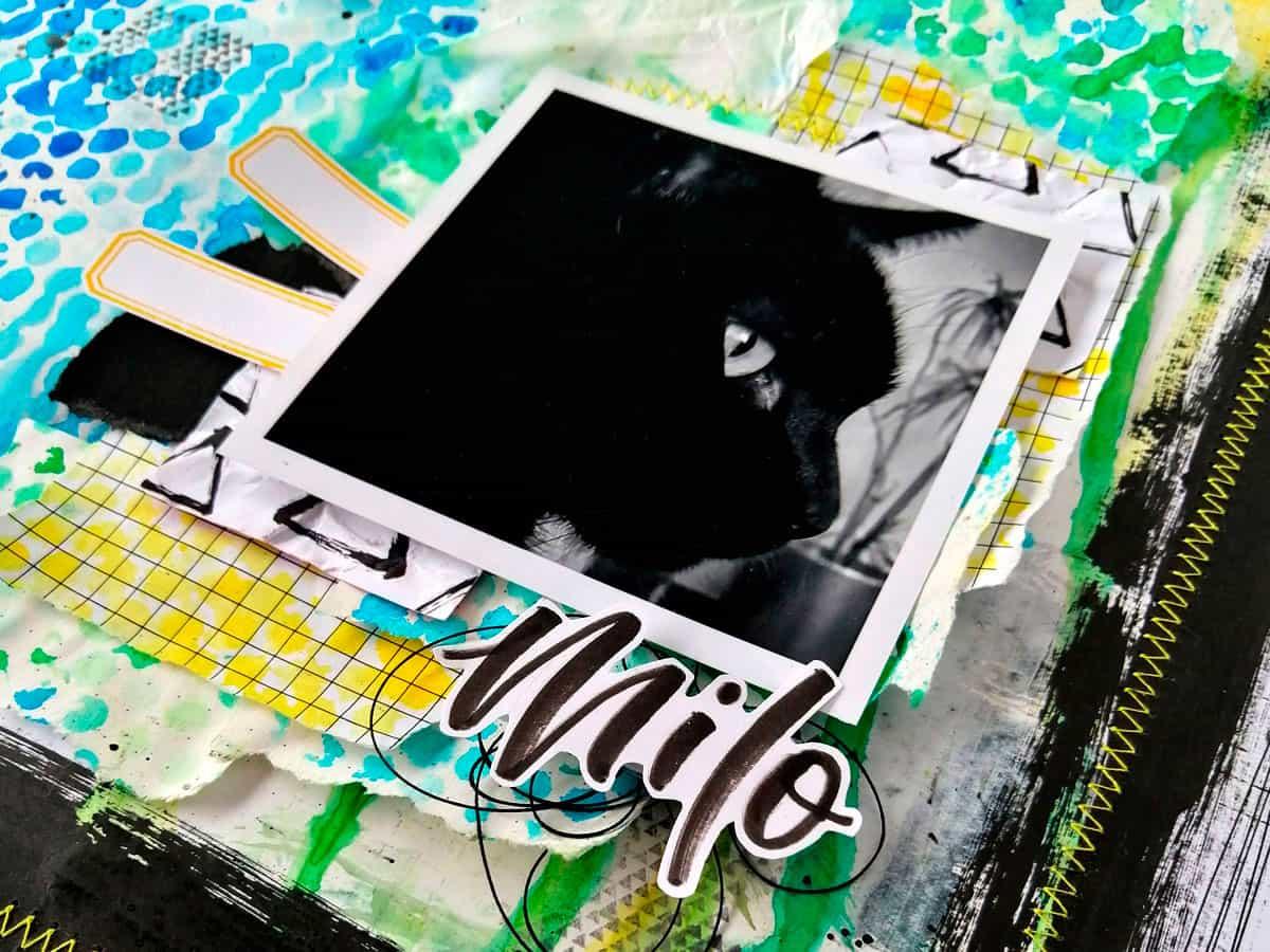 Detalle del hilo del Layout #MilkMedia azul y verde Milo