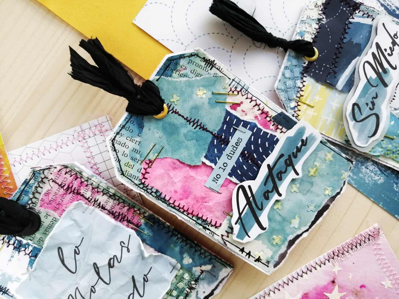 Tags cosidos para aprovechar todos los retales de papel